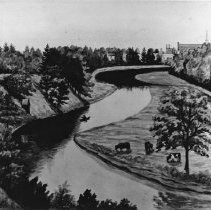 """Image of The Sixtten Looking South from the Oakville Mill - Water colour painting of a section of Sixteen Mile Creek. It shows the Basket Factory on the left in the trees and St. John's United Church on the right in the background. The land on the right of the picture is """"The Island"""" which was farmlands of the Mississagua First Nations. It is signed by T. M. Sinclair in 1904."""