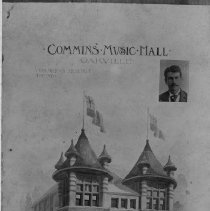 """Image of Commins Music Hall - This elaborate music hall was built in 1894 by J. E. Commins on the north-east corner of Colborne Street (now Lakeshore Road) and Dundas Street (now Trafalgar Road). He has a line-up of shows such as Pauline Johnson performing recitations, Sheridan's """"The Rivals"""" performed by Leroy Kenney, """"Mrs Jarley's WaxWorks"""" and """"Ten Night in a Bar Room"""". It burned down in 1898 with suspicion that it was purposefully set on fire as it was not a very profitable business."""