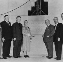 Image of Hazel Mathews (nee Chisholm) laying cornerstone at Post Office