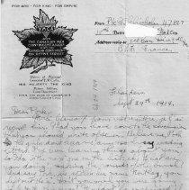 Image of Gordon Monro Letters, Sept. 24, 1914