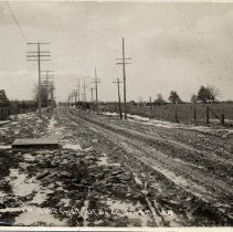 "Image of Highway #2 construction - Printed on the botton left corner: ""T.T.H.C. Roadway west of Port Credit, Ref. no. 60, Jan 8th, No. 149.""