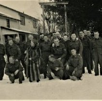Image of Unidentified WWII soldiers - The woman in the raccon coat is also unidentified. Exact location unknown.