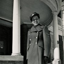 Image of Agnes Forster - Shown wearing her military uniform. Agnes was Lieutenant/ Corporal of the C.W.A.C during World War II. Date and exact location are both unknown.