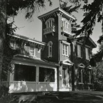 """Image of Potter's Folly - Located on 241 Trafalgar Road. The house was owned by John Potter (1811-1908). When John first built the house in 1869 (after the previous house had been destroyed in a fire), one man commented that it """"looked more like a railway station than a house""""! At the time of his death, aged ninety-seven, James Potter was the oldest man in Oakville."""