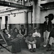 """Image of Group on board the """"Gothic"""" (Boer War) - Pte. E. F. Pullen, an Oakville resident, served in the Boer War (c. 1900). He can be seen on the far right. Written on the back of the photo: """" Sailing from London to South Africa to join Canadians in Boer War. Unusual experience from the time...E. F. Pullen left Oakville until his triumphant return on Dec. 21st, 1900...the Canadian troops were well reviewed in London on their way home, and saw Queen Victoria in one of her last public appearances."""""""