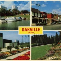 Image of 4 Scenes of Oakville Postcard - In the top left is Sixteen Mile Creek, behind the Oakville Centennial Building, with numerous boats docked. In the top right is a scene of Lakeshore Road E. at Dunn Street. In the bottom left is the Oakville Centennial Building/Civic Centre, located on Navy Street and Laeshore Road and includes the Art Gallery, Library and swimming pool. In the bottom right is Gairloch Gardens located along Lakeshore Road E., it was formerly the estate of J. S. Gairdner and was given to the town of Oakville in 1971.