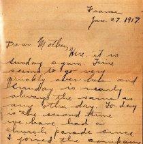 Image of Munro Letters: Jan. 27 1917: Melville Munro to Jessie Munro