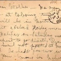 Image of Munro Letters: Apr. 17 1917: Melville Munro to Jessie Munro