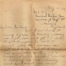Image of Munro Letters: May 23 1917: Melville Munro to Jessie Munro - Melville writes to his mother, Jessie Munro. He has returned from pass back to his camp in Sussex. He gives a more detailed rendition of his trip to London and Edinburgh.