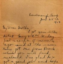 Image of Munro Letters: June 25 1917; Melville Munro to Jessie Munro - Melville writes to his mother from his camp in England. He mentions receiving a letter from Brock, which he encloses for safekeeping. He also says that he wrote to his younger brother the day before.