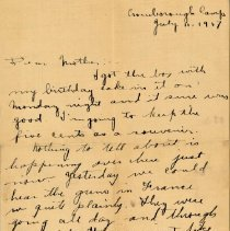 "Image of Munro Letters: 1917 July 11: from Melville Munro to Jessie Munro - Arthur Melville ""Porky"" Munro writes to his mother, and tells her about where he is stationed in England. He thanks her for sending a birthday cake in the mail, and tells her about hearing the gunfire sounds coming from France."