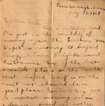 "Image of Munro Letters: 1917 July 16: Melville Munro to Jessie Munro - Arthur Melville ""Porky"" Munro writes to his mother, and tells her about where he is stationed in England. He thanks her for sending a birthday cake in the mail, and tells her about his experience of the gunfire sounds coming from France."