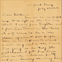 "Image of Munro Letters: 1917 July 18: Melville Munro to Jessie Munro - Arthur Melville ""Porky"" Munro writes to his mother, and tells her about where he is stationed in England. He talks about the town, and the weather conditions around the camp."