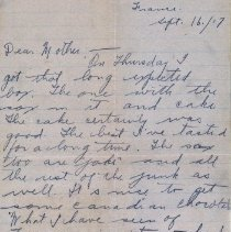 Image of Munro Letters: 1917 Sept 16: George Brock Chisholm to Melville Munro.