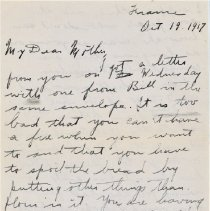 """Image of Munro Letters: 1917 Oct 19: Arthur Melville Munro to Jessie Munro - Arthur Melville """"Porky"""" Munro writes to his mother, Jessie, from his camp in France. He talks about the recent letters he received from his mother and sister. He says that he expects to be visiting the 13th Company soon, in an attempt to get in touch with his friend, George Brock """"Nemo"""" Chisholm."""