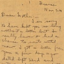 """Image of Munro Letters: Nov 24, 1917: Melville Munro to Jessie Munro. - Arthur Melville """"Porky"""" Munro writes to his mother, Jessie, from his camp in France. He talks about receiving letters from home. He talks about a friend on the front becoming shell-shocked, and seeing another friend wounded and in shock."""