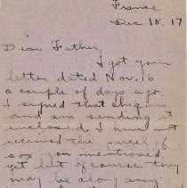 "Image of Munro Letters: Dec 15, 1917: Melville Munro to James E. Munro. - Arthur Melville ""Porky"" Munro writes to his father, Rev. Dr. James E. Munro. He talks about enjoying a nice dinner given by the officers, and how nice of a treat the food was. He also fills in about the recent mail parcels and letters that he has received."