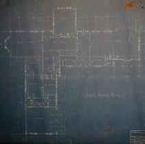 """Image of Blueprints of the Baillie Estate - Blueprint on board 30"""" X  26"""" First Floor Plan"""