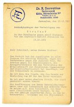 Image of Lavine Collection of Eichmann Materials - Letters from Dr. Servatius in German
