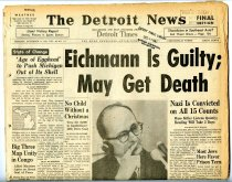 """Image of Lavine Collection of Eichmann Materials - The Detroit News: """"Eichmann Is Guilty; May Get Death"""""""
