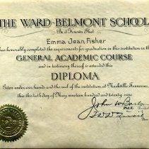 Image of Ward Belmont Diploma, Emma Jean Fisher, 1929