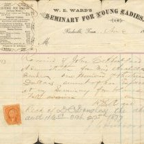 Image of 1868 Ward's Seminary receipt
