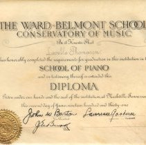 Image of 1931 Ward Belmont Music Conservatory Diploma for Lavelle Thompson