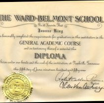 Image of 1951 Ward Belmont Diploma for Joanne King