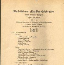Image of 1916 Ward Belmont May Day Celebration Program