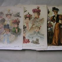 Image of 2009.408.1 - Multiple pages depicting ladies hats and other fashions. 