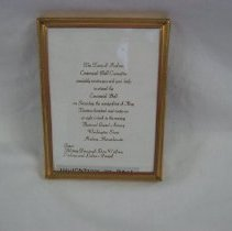 Image of 2009.536.1 - Invitation to Hudson's Centennial Ball which took place on May 21, 1966 at the State Armory. Invitation is in a gold-colored wooden frame