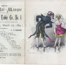 """Image of 2009.627.1 - Dance card from """"The Tenth Annual Bal Masque Given By Relief Hook and Ladder Co., No. 1, Town Hall, Hudson, Mass., Friday Evening, March 1st, 1889.""""  Cover depicts a man and woman in costume bowing towards each other. Interior of card lists names of dances, some of which have beside them initials of people who must have signed up to dance with the owner of the dance card.   6 3/4 x 4 11/16 in."""