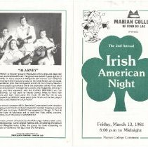 Image of Blarney - Irish American Night Program, Cover : Marian College of Fond du L