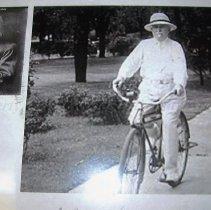 Image of Kellogg on a bicycle