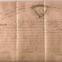 Image of Certificate of Appointment--Cavalry California Volunteers - Certificate, Appt 1864