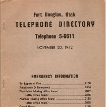 Image of Telephone Directory 1942 - Directory, Ft Douglas 1942
