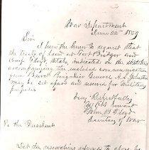 Image of Fort Bridger and Camp Floyd Land Request - Negative, Letter, Pres Buchanan