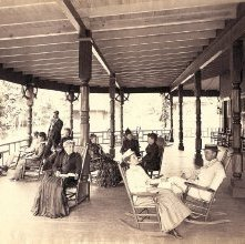 Image of 1977.218.4367 - Watch Rock Hotel Porch, Schroon Lake