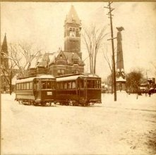 Image of 1978.003.1298 - Hudson Valley Railway Trolley at Monument Square.