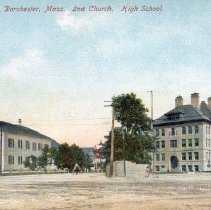Image of Codman Square, Dorchester, Mass. 2nd Church. High School.                                                                                                                                                                                                  - 2007.0060.076