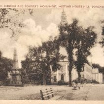 Image of First Parish Church and Soldier's Monument, Meeting House Hill, Dorchester, Mass. - 2007.0060.123