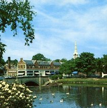 Image of 1200.01.45 - Looking Across Mill Pond, Winchester, Mass. Toward Winchester Center