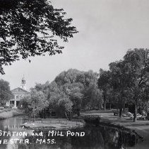 Image of 1200.01.46 - Fire Station and Mill Pond, Winchester, Mass.