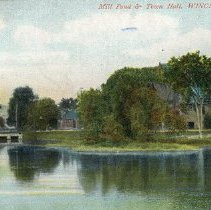Image of 1200.01.47 - Mill Pond and Town Hall, Winchester, Mass.