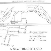 Image of 1300.09 - Plan of land in Winchester, Massachusetts north of the Center showing old and new freight yards and new athletic field, June 5, 1939.
