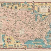Image of 1300.126 - Catholic America, a pictorial map portraying the contribution of Catholics in the development of the United States of America 1498-1946. Designed and drawn by Ernest Dudley Chase. Edited by Lawrence M. O'Connell.