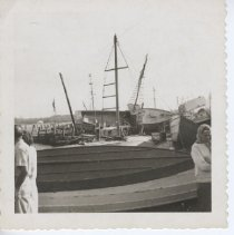 Image of 2000.016.006 - Town Wharf is full of boats after Hurricane Carol  August 31, 1954