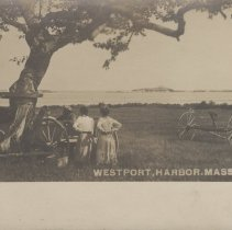 Image of 2005.081.392 - View of 2 women and 2 men under a tree in a field with horses and wagon.  Hay bailer over to the side.  Postcard B/W #606  (See 2006.036.120 & 2005.081.391)