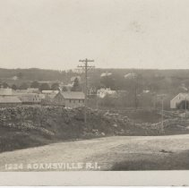 Image of 2005.081.445 - Postcard of  Adamsville, R. I. showing dirt road,stone wall and overall view of village.  See #2005.081.444 and 446.