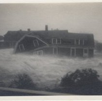 Image of 2006.040.072 - During 1938 Hurricane, Acoaxet Barker, Dennert & Welsh cottages on their way.  They were broken into bits and strewn along northeast shore of Pond and on Wheeler land.